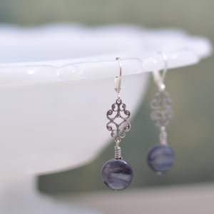 Mother of Pearl and Silver Filigree Earrings