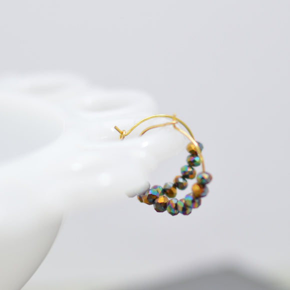 Gold Hoop Earrings with Faceted Amber Glass Luster Beads