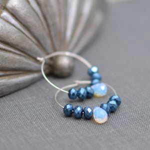 Silver Hoop Earrings with Faceted Sapphire Luster Beads and Opalite Teardrop Beads
