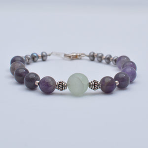 Amethyst, Amazonite & Cultured Pearl Sterling Silver Bracelet