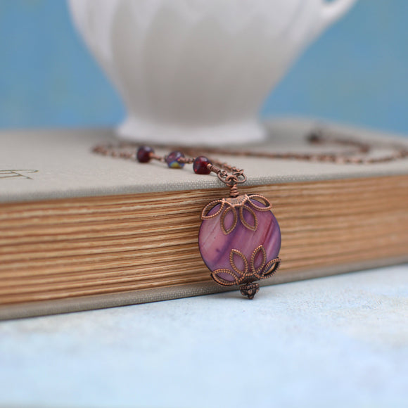 Purple Shell Necklace  Handmade Necklace