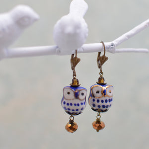 Blue & White Porcelain Owl Earrings *As Seen in Bird Talk Magazine*