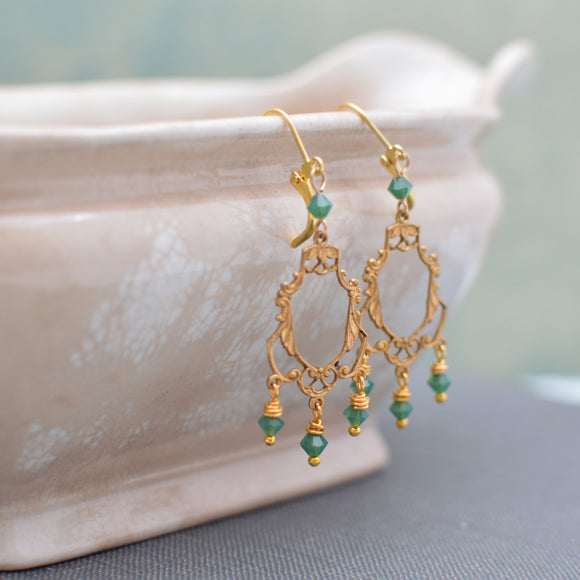 Gold Art Deco Filigree Chandelier Earrings With Palace Green Opal Swarovski Crystals