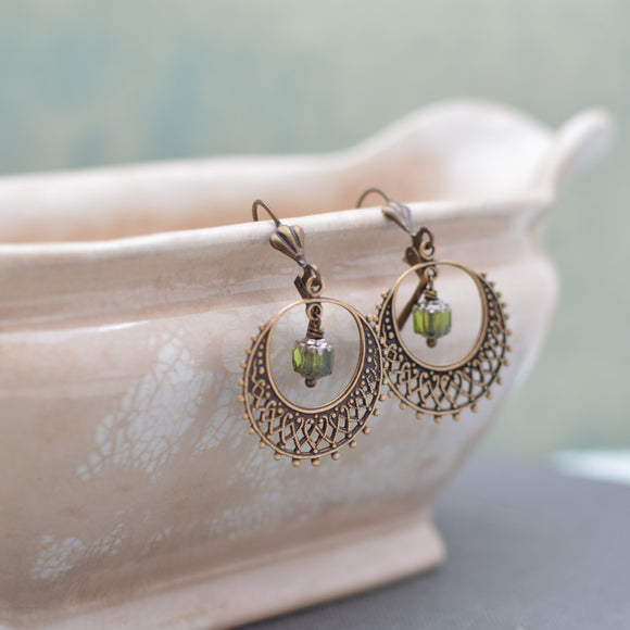 Antique Bronze Filigree Hoop Earrings