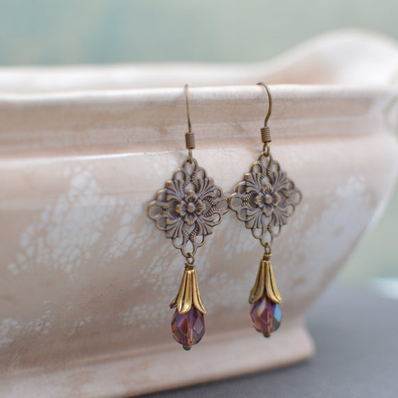 Antiques Gold & Brass Art Nouveau Chandelier Earrings with Amethyst Crystals
