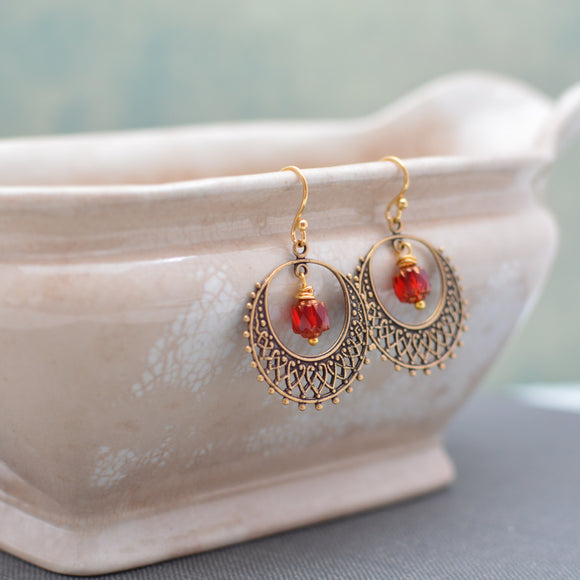 Antique Gold Filigree Hoop Earrings
