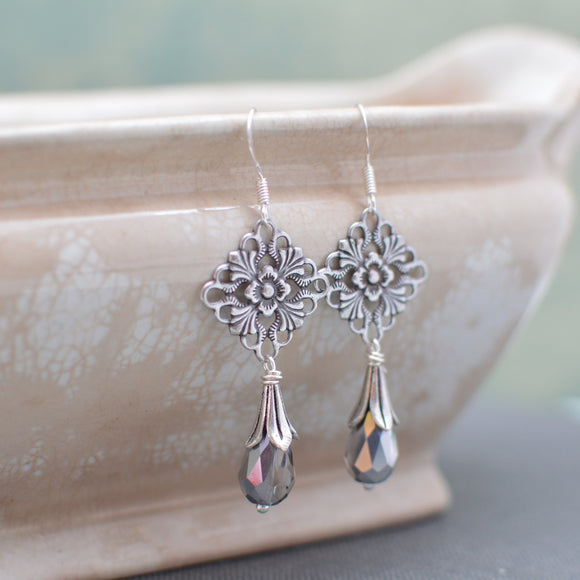Silver Art Nouveau Chandelier Earrings with Crystal Teardrops