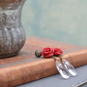 Red Rose Earrings with Teardrop Bead