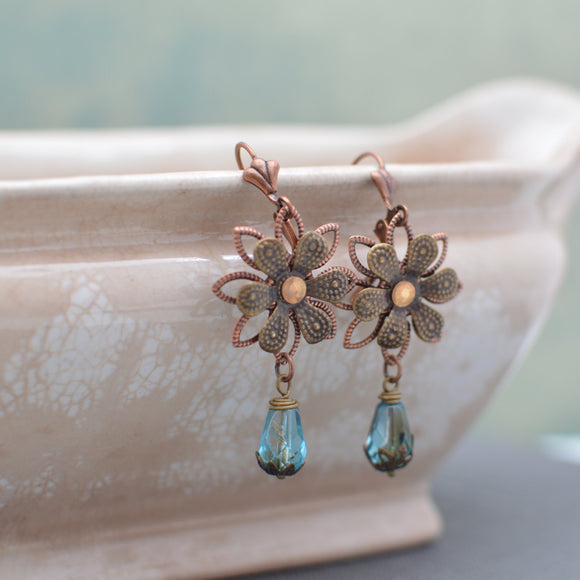 Antiqued Brass Flower Earrings