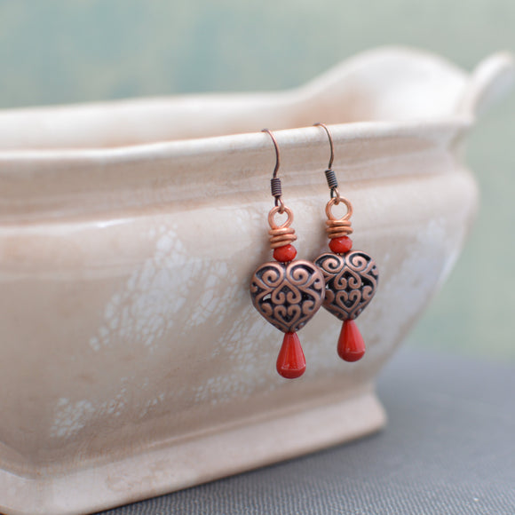 Antiqued Copper Filigree Heart Earrings