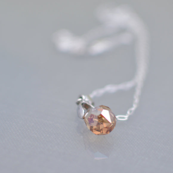 Champagne Faceted Swarovski Crystal Teardrop Necklace