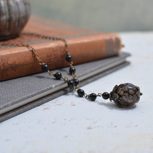 Dragon's Vein Agate and Black Onyx Y Necklace