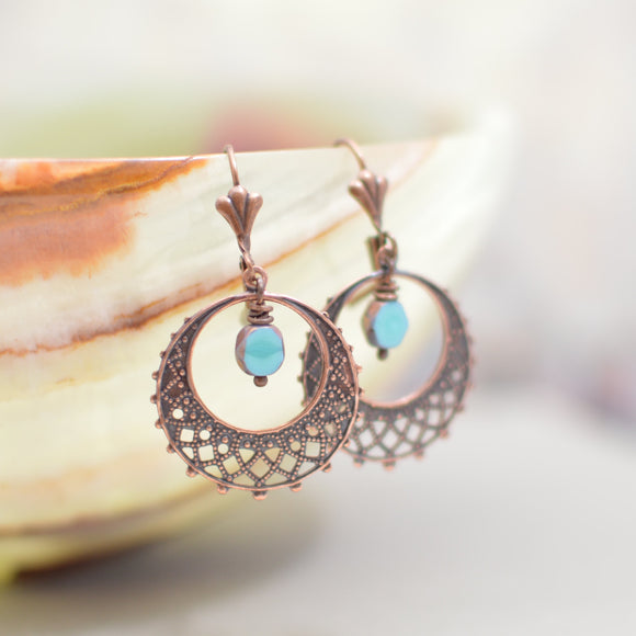 Antique Copper Filigree Hoop Earrings