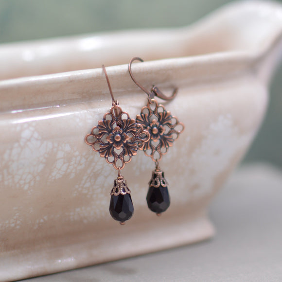 Antiques Copper Art Nouveau Chandelier Earrings with Black Teardrops