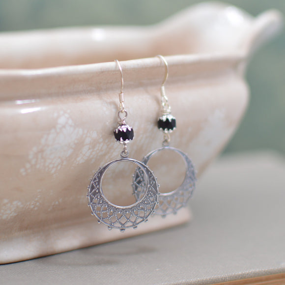 Antique Silver Filigree Hoop Earrings