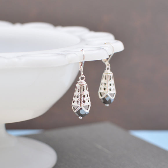 Silver Iris Glass Teardrop Earrings