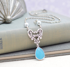 Art Nouveau Blue Gem Necklace