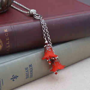 Red Bell Flower Double Necklace