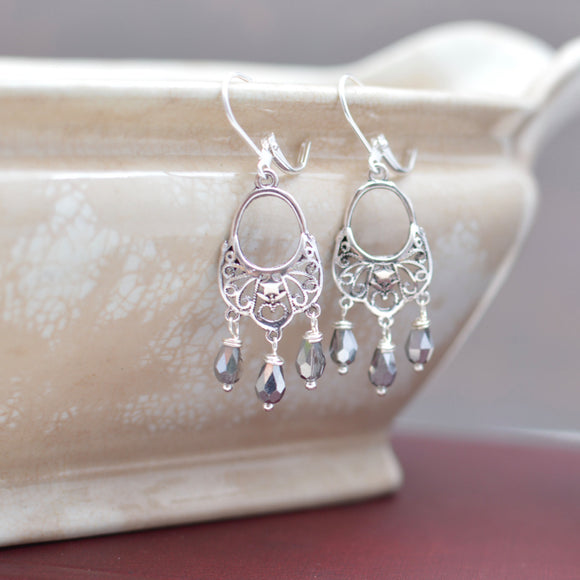 Silver Star Filigree Chandelier Earrings with Silver Crystal Teardrops