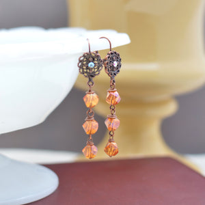 Antiqued Copper Filigree and Crystal Triple Tiered Dangle Earrings