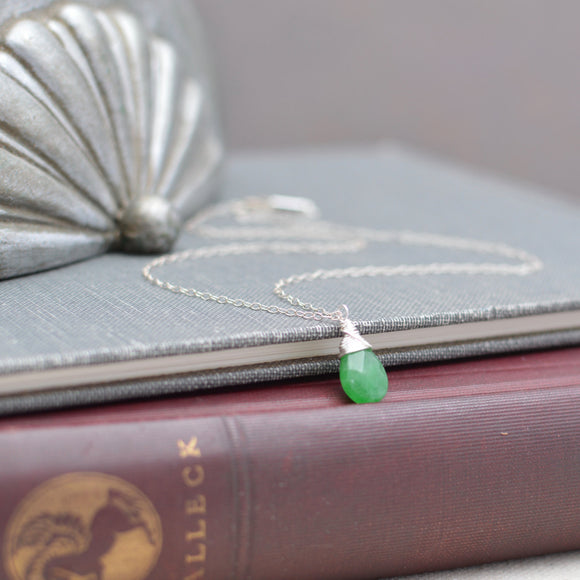 Green Aventurine Faceted Teardrop Pendant on Silver Chain Necklace