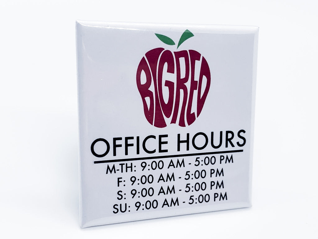 Big Red Office Hours Square Button - InclusiveRandomness