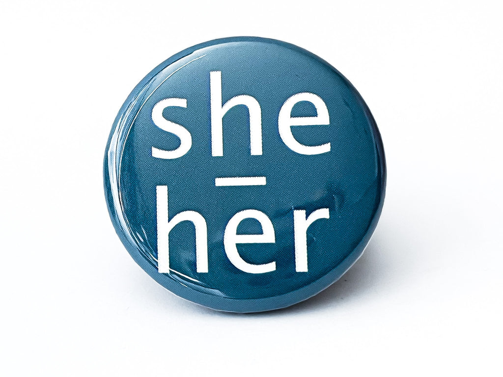 She Her Pronouns Button - InclusiveRandomness