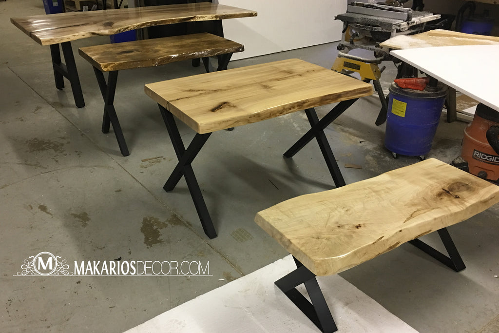 natural wood dining table, live edge side table, maple slab, live edge kitchen table, walnut wood slab