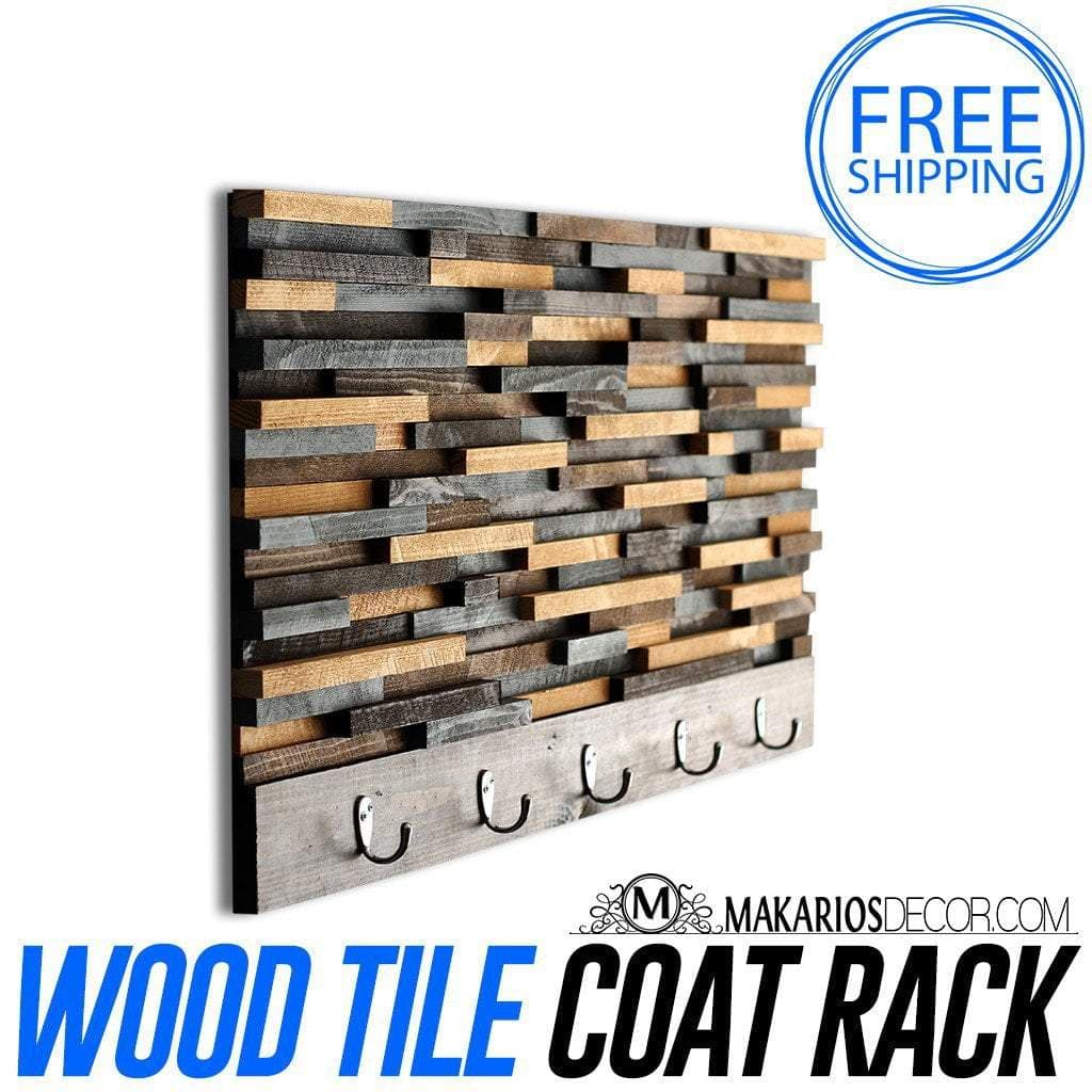 Wood Tile Coat Rack