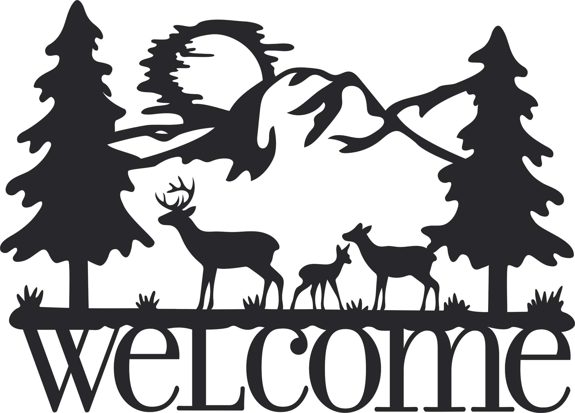 Welcome Deer Sign