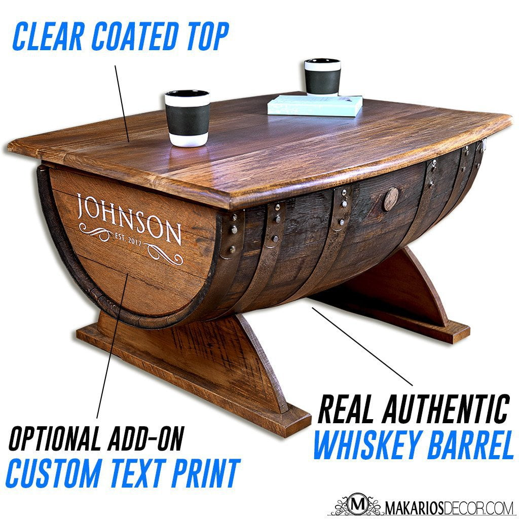 Barrel table barrel coffee table whiskey barrel table for Table basse coffre
