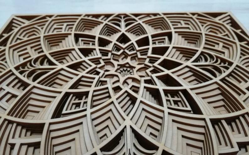Rectangle Mandala Laser Art
