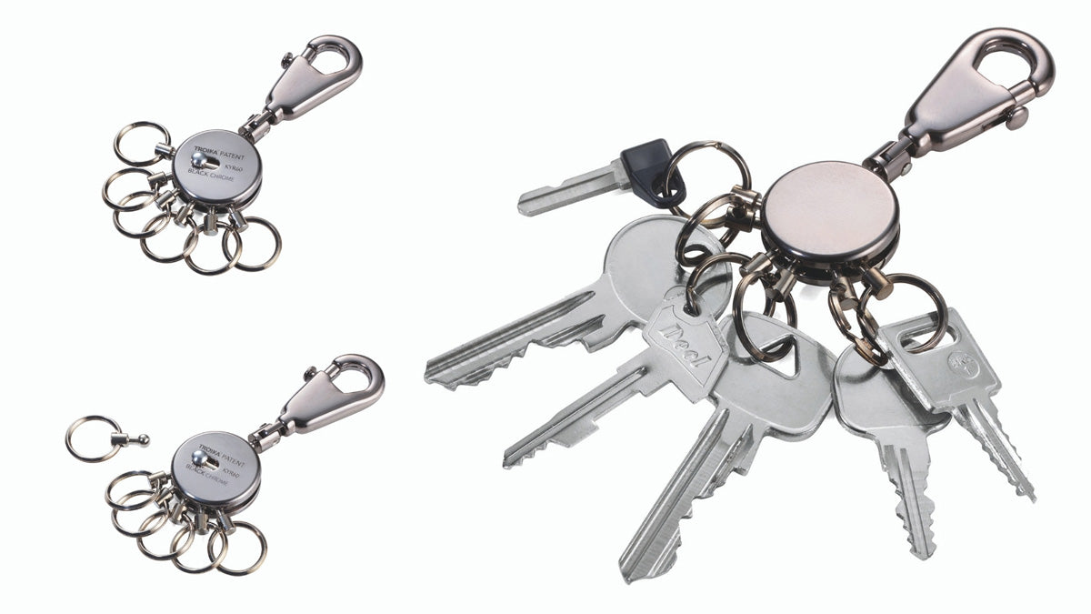 Troika's Design Classic The Patent Keyring with Removable Rings Now in Black Chrome