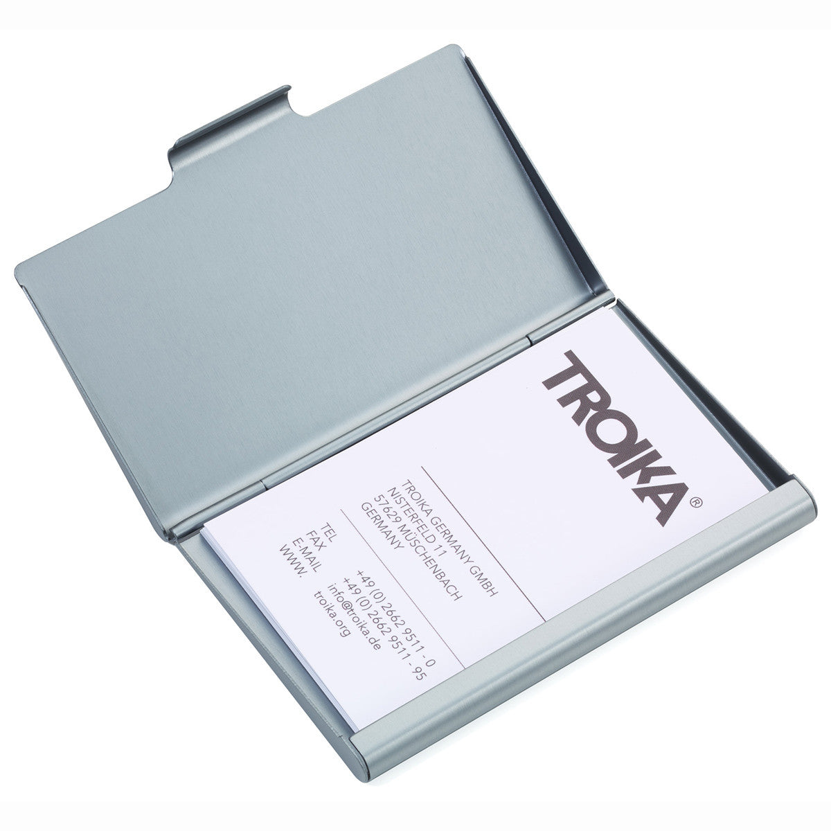 Troika jumbo 17 business card case with number emboss troikaus troika birdie business card case with multi color bird print image shows card case open reheart Gallery