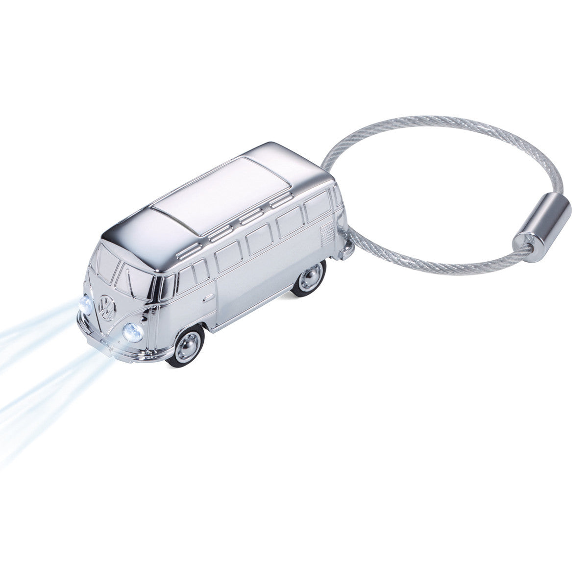Troika Vw Gifts Officially Licensed Merchandise Lightupcircuitboardkeychain Light Bulli Camper Van Led Keychain Chrome With Nail Friendly Wire Loop