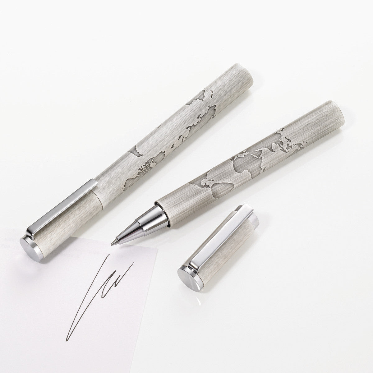 Troika world in your hand rollerball pen in 4 finishes troikaus troika world in your hand rollerball pen in brushed silver showing with and without screw on gumiabroncs Images
