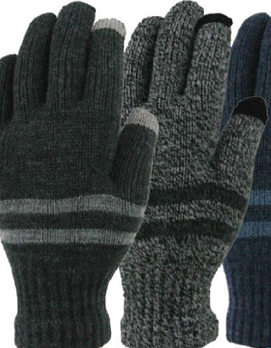 Winter Gloves-Men's Marled Acrylic Knit Touchscreen Glove
