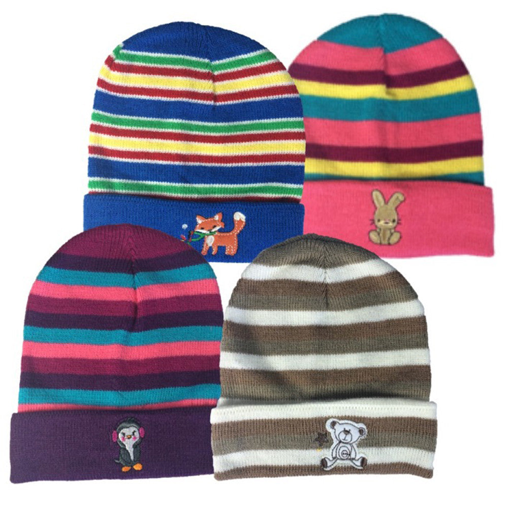 1a7fc3ef612 Winter-Hats Infant   Toddler Striped Cuff Knit Hats