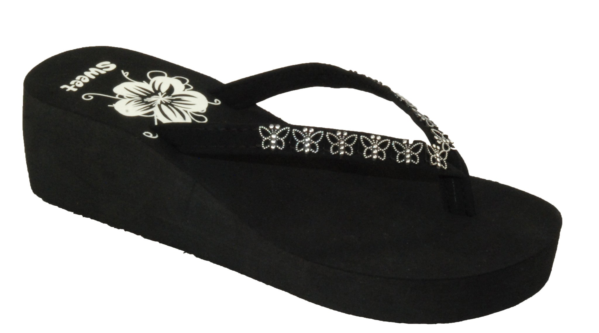 Sandals Ladies Butterfly Wedge Thong Sandal