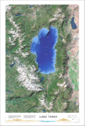 Souvenir Poster Aerial Lake Tahoe Topography Map Poster Wholesale
