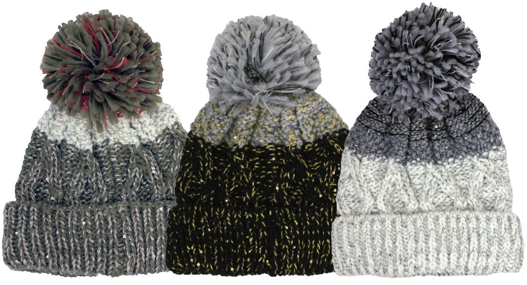 Winter-Hats Ladies Thick Yarn Cuff Pom Hat - Wholesale Resort Accessories 90e298519