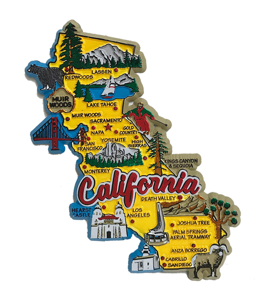 Souvenir Magnet California State Map