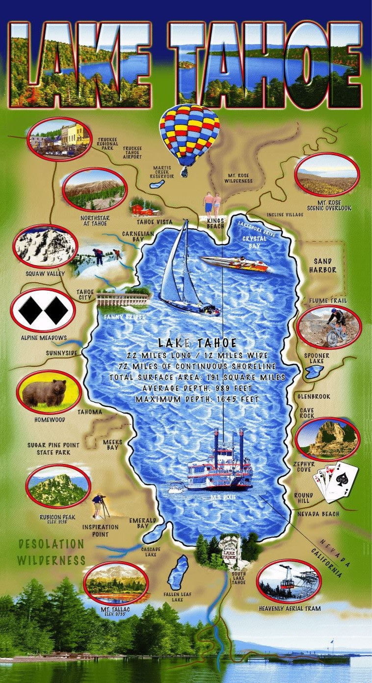 Beach And Boat Gear Towel Lake Tahoe Map Wholesale
