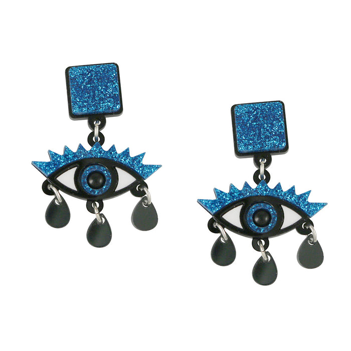 An Eye for an Eye Earrings in blue glitter