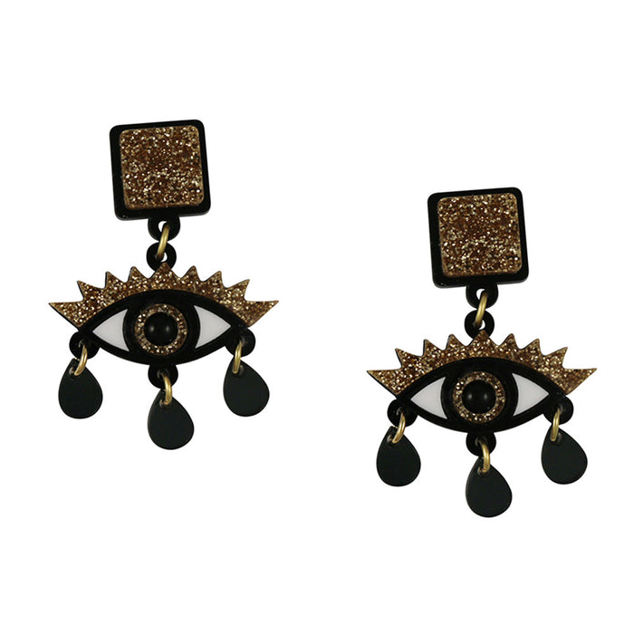 An Eye for an Eye Earrings in gold glitter