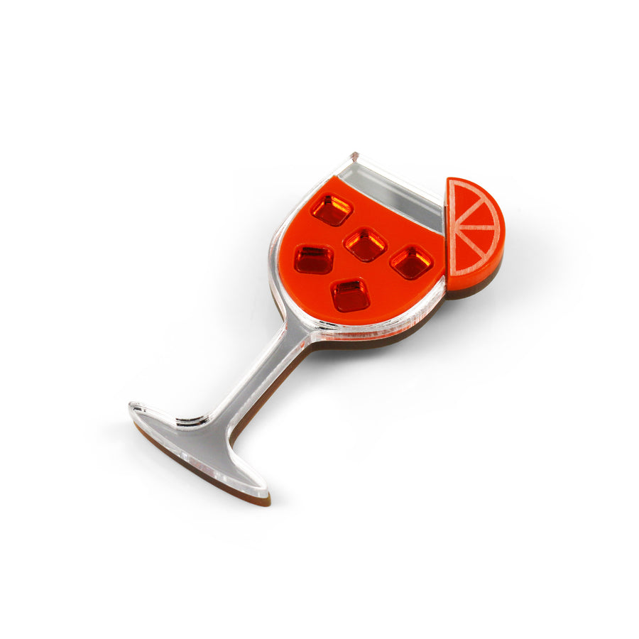 Aperol Spritz Cocktail Brooch