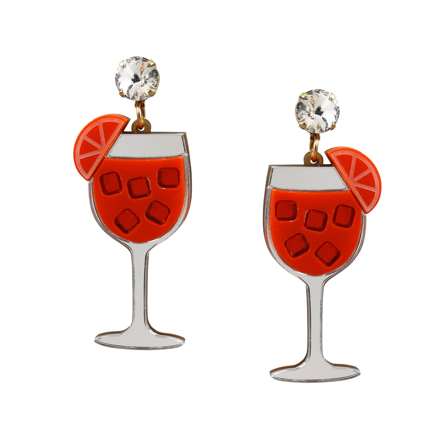 Aperol Spritz laser cut acrylic cocktail earrings