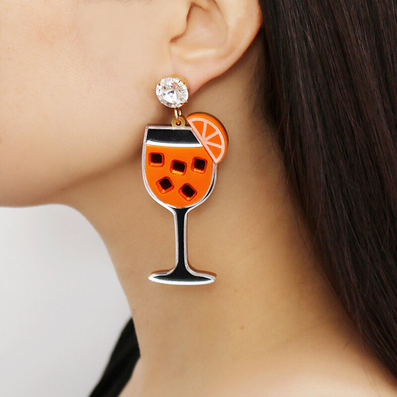 Aperol Spritz Cocktail Earrings