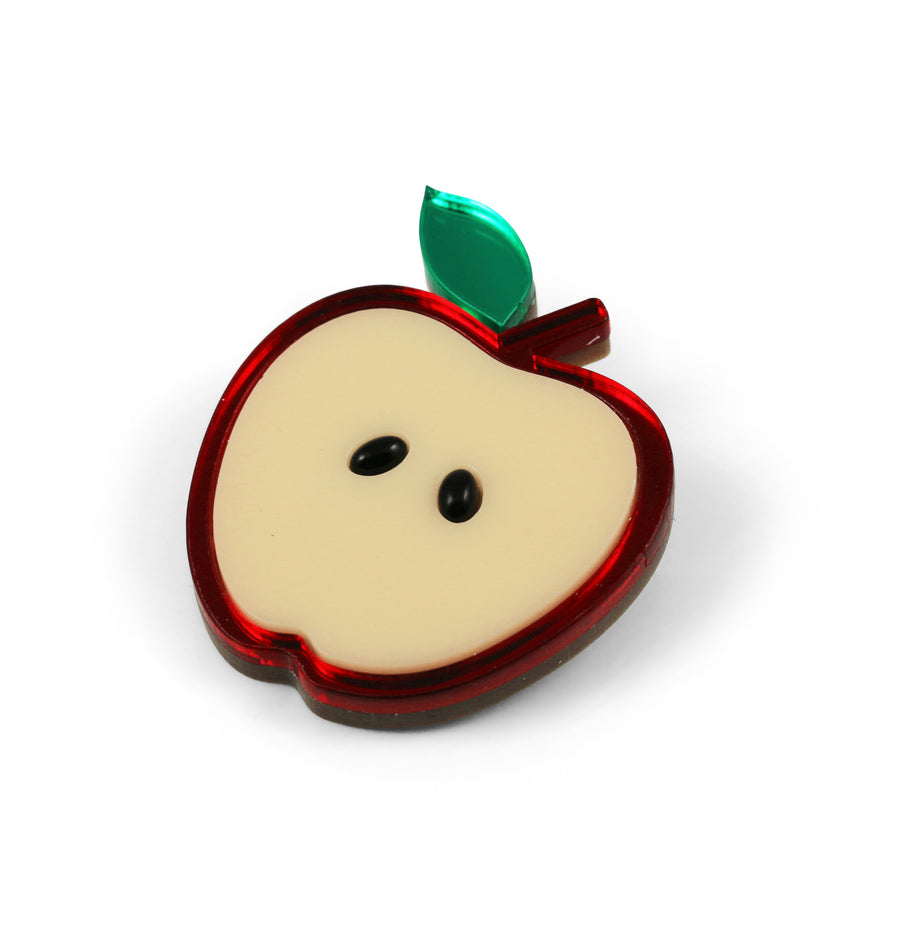 Jennifer Loiselle laser cut acrylic Perspex apple brooch