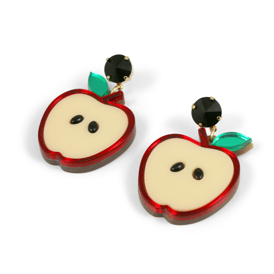 Jennifer Loiselle laser cut acrylic Perspex apple earrings